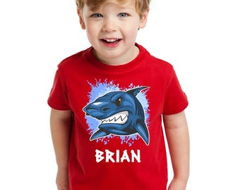 Personalized shark shirt avaliable in Youth Shirt or Bodysuit