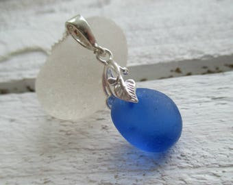 Blue Sea Glass Sterling Silver Necklace