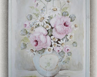Original Shabby French Vintage Parisian PINK ROSE painting with Antique Frame