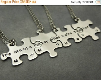 ON SALE Its always better when were together, personalized puzzle pieces necklace set of 4, hand stamped stainless steel, best friends, sist