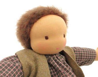 "16"" Waldorf doll // natural fiber doll // dress up boy doll // waldorf toy // steiner doll // textile doll // ready to ship"