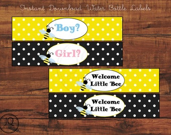Printable Gender Reveal Water Bottle Labels, Bee Theme Gender Reveal Party, Welcome Little Bee, Party Printables