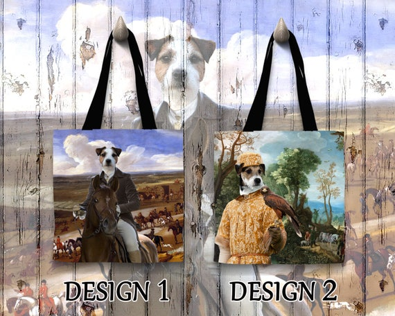 Parson Russell Terrier Tote Bag/Jack Russell Terrier Bag/Terrier Portrait/Terrier Art/Personalized Dog Tote Bag/Custom Dog Portrait