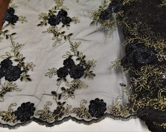 "Black Floral Ribbon Embroidery Metallic and Sequin Lace Fabric on Mesh Perfect for Dresses, Prom, Accessories, Table Design, 50"" Wide"