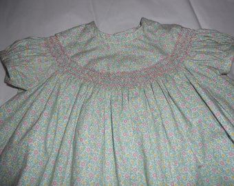 Size 6 Months, Handsmocked Baby Girld Soft Green Dress