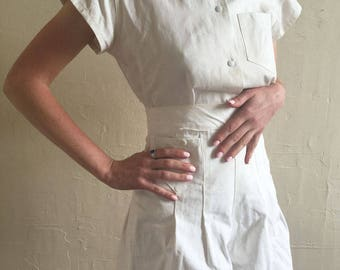 RESERVED // Vintage 1940s Deadstock White Play Suit Gym Uniform Two Piece Blouse and High Waisted Shorts Crisp Set