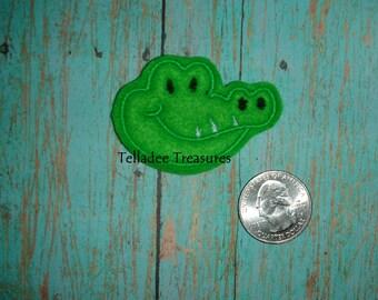 Alligator Head Feltie - Small Green felt - Great for Hair Bows, Reels, Pin or Crafts  - Gator Felt