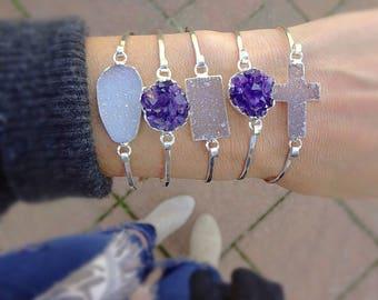 Druzy Sterling Silver Bangle Bracelet, Hammered drusy layered bracelet, Choose your shape, druse minimal dainty cuff Otis B
