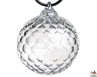 Hand Blown Glass Ornament - Clear Glass with Diamond Pattern