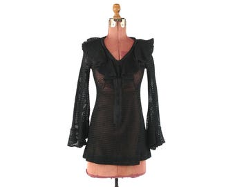 Vintage 1970's Mr Boots Sheer Black Cotton Knit Ruffle Bell Fan Sleeve Boho Hippie Blouse Shirt Top S
