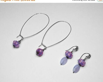 Chinese Lamp-work Glass and Chalcedony Earrings in Silver, Choice of 2