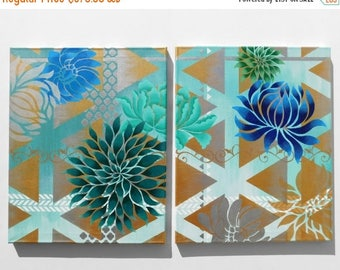 Flower and Lattice Original Diptych Acrylic Painting, 32 x 20""