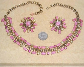 Vintage Pink Rhinestone And Moonstone Necklace With Glass Clip On Earrings 1950's Jewelry 2308