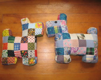 2 Vintage patchwork Scottie Dog pillows