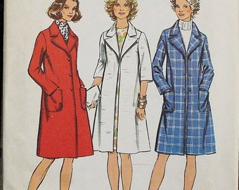 25%off Sizzlin Summer Sal Simplicity 5526 1970s 70s Midi Lined Coat Jacket Vintage Sewing Pattern Size 14 Bust 36