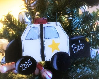 Police Ornament Personalized Car Christmas Officer Name Ornie POLICEMAN