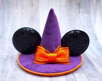 Mini Mouse Ears Halloween Witch Hat In Purple Velvet With Orange Minnie Bow