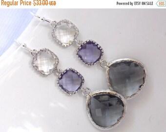 SALE Purple Earrings, Gray Earrings, Grey, Glass, Dangle, Drop, Clear, Silver, Bridesmaid Jewelry, Bridal, Bridesmaid Earrings, Bridesmaid G