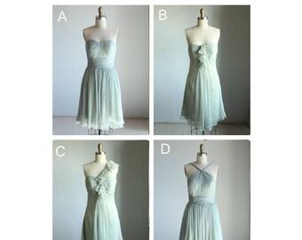 2017 Mix Match Bridesmaid Dresses / Romantic / Dusty Shale / Dresses /Fairy / Dreamy / Bridesmaid / Party / wedding / Bride Dress(E004)