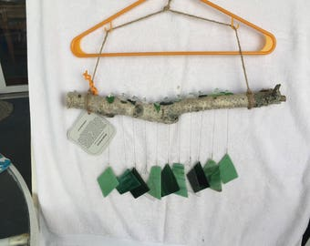 Green recycled glass and birch windchime