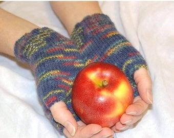 Christmas in July Sale Knit Mittens, Blue Knit Mittens, Wool Mittens, Fingerless Mittens, Knit Gloves, Wrist warmers, Gift Idea Under 25