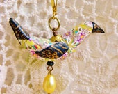 Yellow Bird Pendant Boho Chic Crystal Chain Triangle Pattern pastel fwp pearls wearable art clay black gold wings