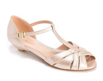 Champagne Bridal Sandals Peep Toe Vegan Beautiful Low Heel Shoes Wedding
