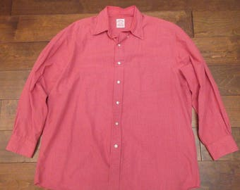 Brooks Brothers Vintage Red White Plaid Long Sleeves Button Down Shirt Sz 16.5-3