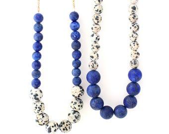 Aussie -- colorblock gemstone beaded necklace, mid-length, statement, bead, gem, natural, short length, minimalist, trendy