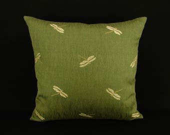 "18"" x 18"" Pillow Cover Olive Green Dragonfly Knife Edge"