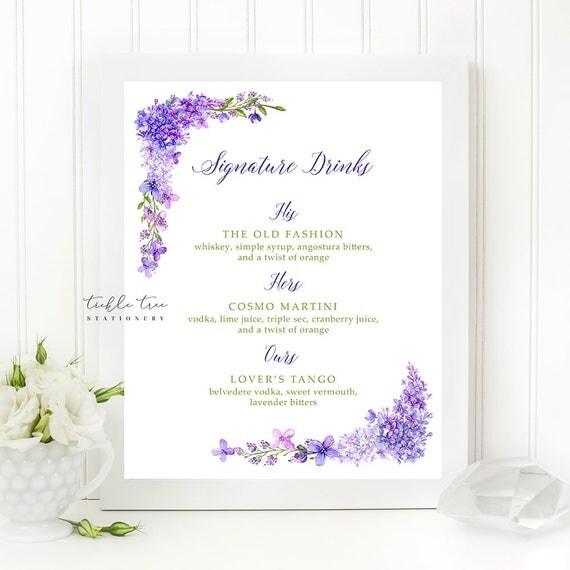 Signature Drinks Sign Art Print - Purple Garden