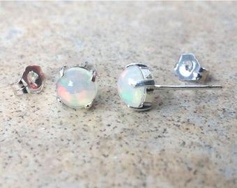Genuine Opal earrings -  6mm Ethiopian Opal (October Birthstone) stud earrings in Sterling Silver.