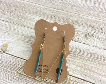 Beaded Brass Triangle Earrings, Dangle Brass Earrings, Triangle Earrings
