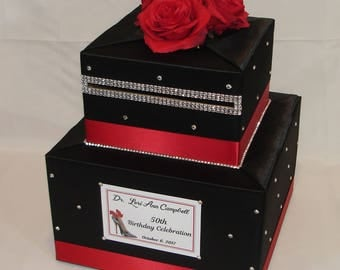 Black and Red Card Box-Rhinestone accents