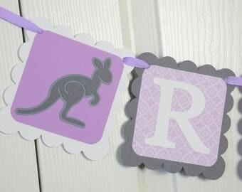 Kangaroo WELCOME NAME Banner, Birthday Party,  Kangaroo Theme, Purple, Gray and White