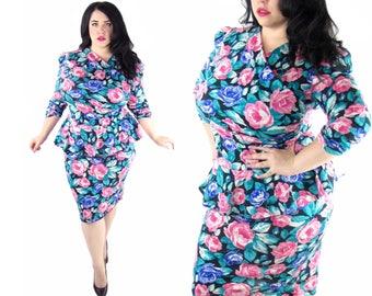 Plus Size Vintage 1980's Deadstock Floral Dress - Size XL