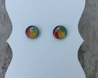 Beach ball earrings, fun in the sun, beach ball, beach inspired jewelry