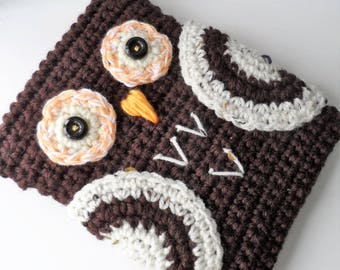 Hand Crocheted Dark Brown Owl Kindle Nook Kobo E-reader Tablet iPad Sleeve Cover Holder