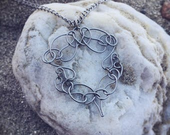 Silver Necklace, Steel Pendant, Wire Pendant, Wire Wrap Pendant, Silvertone Necklace, Wire Formed Necklace, Wirework Jewelry