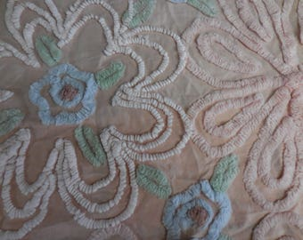 """PINKY Beige with BLUE, Pink, Green and White Chenille and Needletuft FLOWERS Vintage Chenille Bedspread Fabric  - 15"""" X 26"""" - #1 - Pretty!!"""