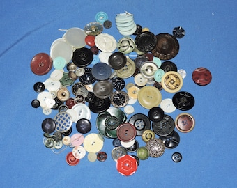 Vintage Buttons Mixed Lot Navy Anchor Red Blue Black Green 40s 50s 60s