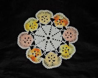 Vtg Pansy Doily Pink Yellow Orange Flower Edge 8 in Dia Hand Crochet