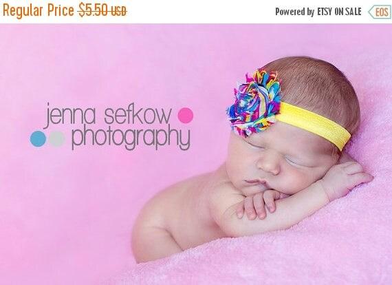 SALE Chic Rainbow Shabby Frayed Chiffon Flower on Yellow Shimmery Elastic Headband - Photo Prop - Newborn Toddler Girls - Baby Shower