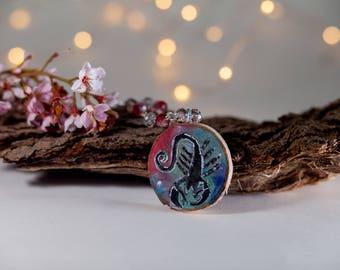 Scorpio Astrology- wood jewelry- zodiac necklace-boho necklace-bohemian art-scropion