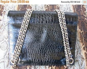 On Sale Vintage Black Faux Leather Purse 1960's Mad Men Mod Retro Rockabilly Accessory