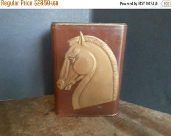 Now On Sale Vintage Bookends Horse Leather Brown Gold Gilt Stallion Design, Art Deco Home Decor, 1930's 1940's