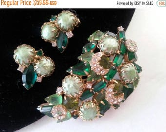 Now On Sale Green Rhinestone Demi Parure * Vintage Brooch Earring Set * 1950's High End Jewelry * Mad Men Mod * Old Hollywood Glamour
