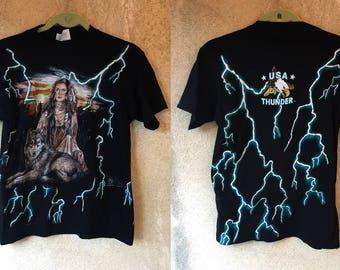 Lightning Wolf Western Native Feather Biker Tee Shirt