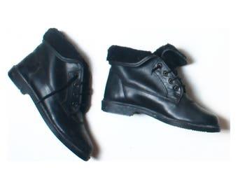 Vintage Flora Solar Black Leather Faux Fur Lined Ankle Boots UK 5 US 7.5 EU 38