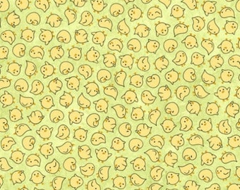 20% off thru 2/22 SHEEPS & PEEPS-by the half yard by QT fabrics-tossed yellow chicks on green-25752-H Quilting Treasures